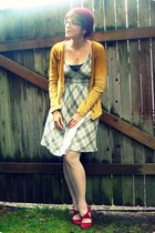 maroon thrifted heels - heather gray Target dress - mustard thrifted cardigan