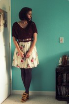 crimson thrifted forever 21 sweater - ivory floral print Gifted Forever 21 dress