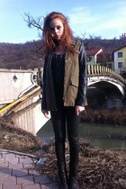 dark gray leather Pimkie boots - olive green leather-sleeves Stradivarius jacket