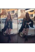 black Musette boots - brown leather Gucci bag - black denny rose blouse