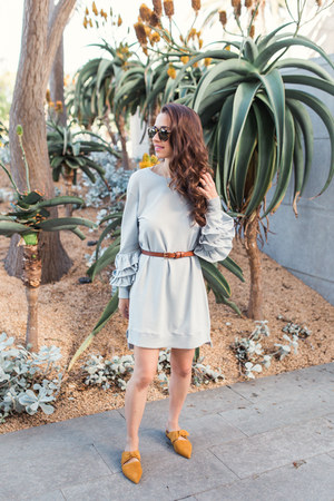 Gorjana necklace - suede flats free people shoes - sweater Nordstrom dress