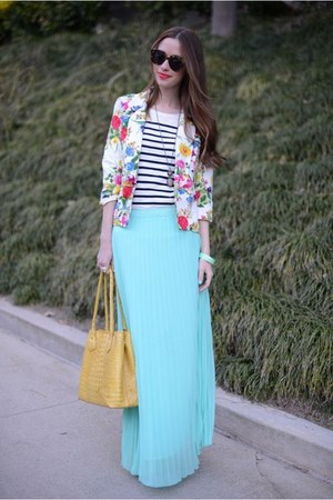 aquamarine pleated maxi Ruche skirt - bubble gum floral Ruche blazer