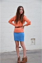 orange cable knit unknownknown sweater - blue Many Belles Down dress