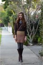 Brown-jcrew-boots-dark-brown-banana-republic-sweater-blue-jcrew-shirt