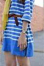 Blue-jcrew-dress-yellow-unknown-scarf-tan-braided-american-eagle-flats