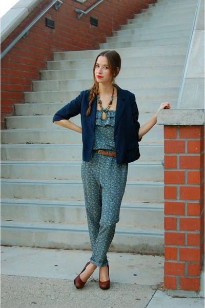 blue jumpsuit Lulus jumper - navy Urban Outfitters blazer