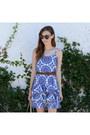 Blue-jcpenney-dress-brown-karen-walker-sunglasses