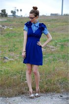 navy rosettes v neck LuLus dress - blue JCrew shirt - camel Poetic License heels
