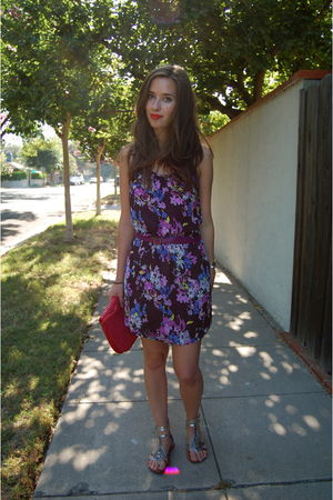 purple Fire Los Angeles dress - purple Gap belt - silver Union Bay  via Marshall