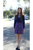 purple floral Tulle skirt - navy knit JCrew sweater - blue button up JCrew shirt