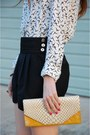 White-simply-audrey-shirt-yellow-clutch-heather-belle-bag