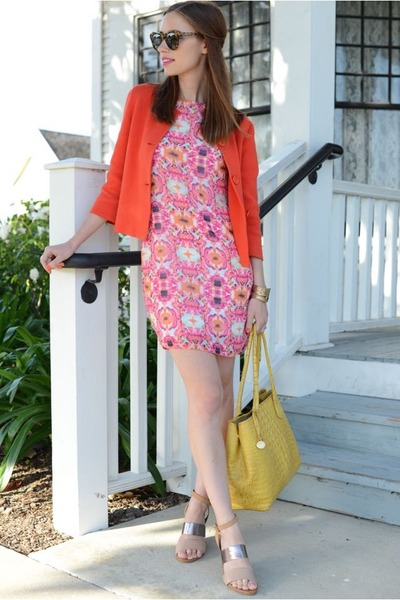 silver wedges shoemint shoes - coral Audrey dress - red JCrew jacket