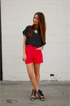 black polka dot Forever21 shirt - red Lulus shorts - black Aldos Shoes heels