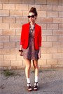 Brown-michael-korss-shoes-brown-shop-ruche-dress-red-wool-blazer-thfited-jac