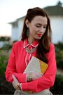 Mustard-bow-sole-society-heels-coral-button-up-a-thread-shirt