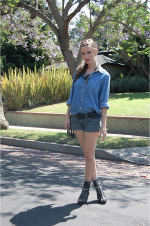 blue thrifted shirt - blue Gap shorts - black Jeffrey Campbell shoes