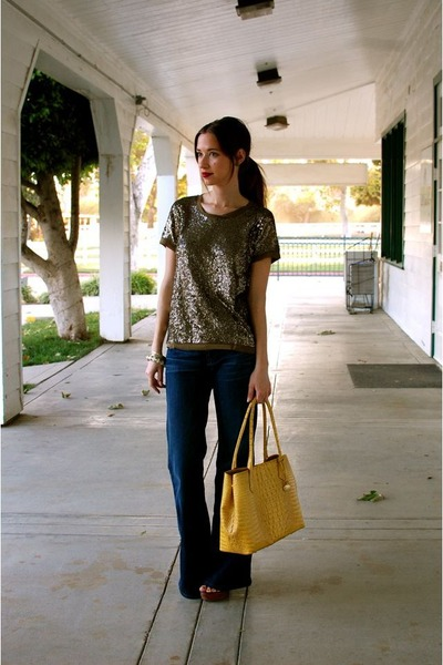 gold sequin JCrew shirt - blue Gap jeans - yellow brahmin purse