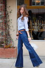 Blue-gap-jeans-brown-woven-thrifted-belt-blue-ruffled-j-crew-blouse-brown-