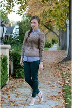 teal coated denim JBrand jeans - brown ombre knit Ruche sweater - blue JCrew top