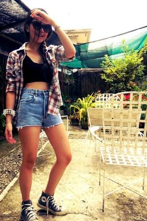 spikes bracelet - jacket - diy shorts - cateye sunglasses - sneakers