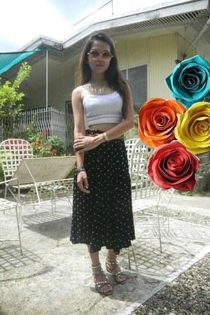 cut up blouse - studded sandals - polkadot skirt