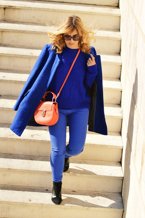 blue Adolfo Dominguez coat - blue H&M jeans - blue shein sweater