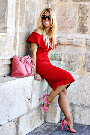 red Zara dress - bubble gum Topshop heels