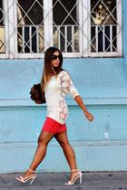 white suiteblanco sweater - light brown Misako bag - carrot orange H&M skirt