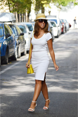 white Zara heels - yellow Zara bag