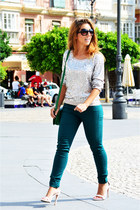 silver H&M sweater - teal H&M jeans - green vintage bag - white Zara heels