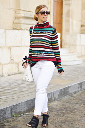 white Sfera jeans - green zaful sweater - white Zara bag - black Bershka heels