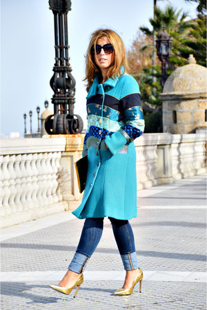 sky blue desigual coat - navy H&M jeans - gold Zara heels