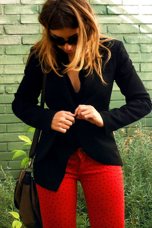 black Only blazer - red Falabella jeans - black index blouse