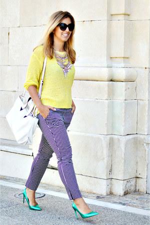 light yellow H&M sweater - black Sfera pants - aquamarine Zara heels