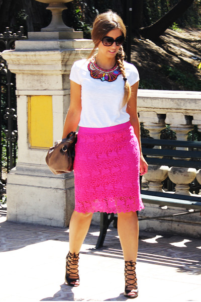 hot pink Cacharel skirt - white H&M shirt - black Zara heels