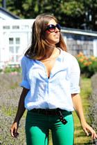 green H&M jeans - light blue H&M shirt
