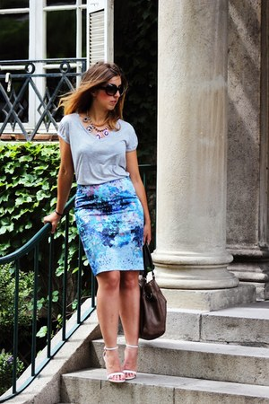 turquoise blue H&M skirt - brown Misako bag - periwinkle H&M t-shirt