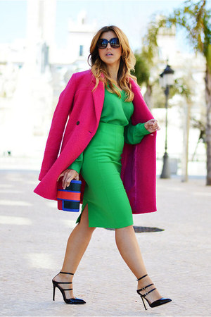green Primark shirt - hot pink Only coat - hot pink jo & MrJoe bag