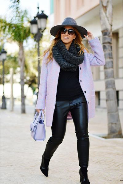 black Zara boots - violet asos bag - black Zara pants