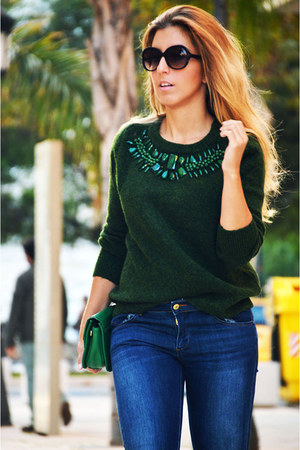 dark green H&M sweater - navy Sfera jeans - black Zara heels