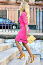 mustard Zara bag - hot pink Derhy dress - mustard Mango heels