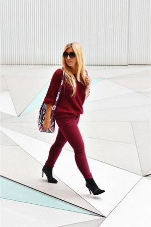 crimson Zara jeans - crimson romwe sweater - crimson Parfois bag