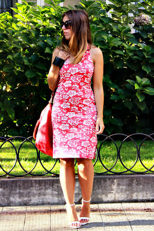 red green coast dress - red Martina K bag - white Zara heels