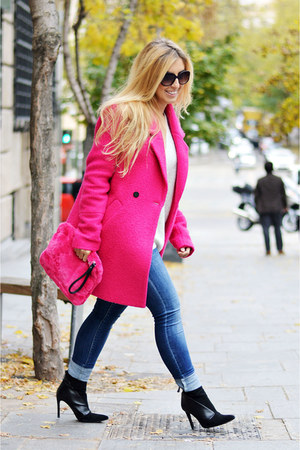hot pink Only coat - black Zara boots - hot pink Stradivarius bag
