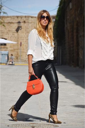 white Zara shirt - black Zara pants - camel Marypaz heels