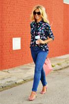 navy Zara jeans - bubble gum Topshop heels