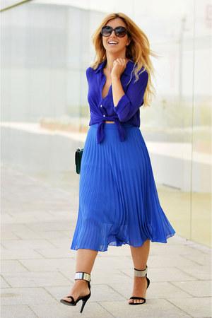 blue vintage shirt - blue Fórmula joven skirt - black Zara heels