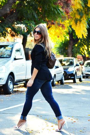 white Zara heels - blue H&M jeans - black Only blazer - light brown Misako bag