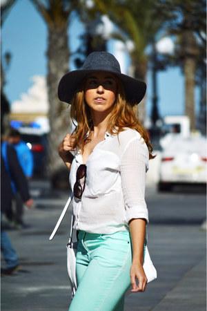 charcoal gray Unit hat - aquamarine H&M jeans - white Mango shirt