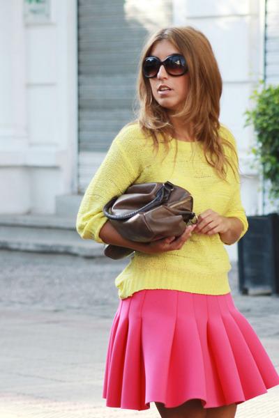 hot pink H&M skirt - yellow H&M sweater - bronze Misako bag - white Zara heels